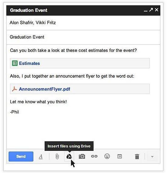 Imagem do Gmail, que agora integra o Google Drive e permite o envio de arquivos com até 10 Gbytes