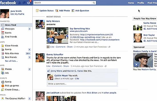 Feed de notícias do Facebook, onde os anúncios em vídeo devem ser exibidos a partir do ano que vem