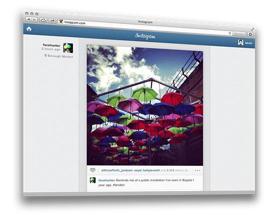 Página do feed do Instagram visto na web