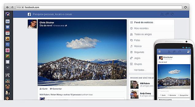 Novo visual do feed de notícias do Facebook, anunciado em evento da rede nesta quinta-feira (6)