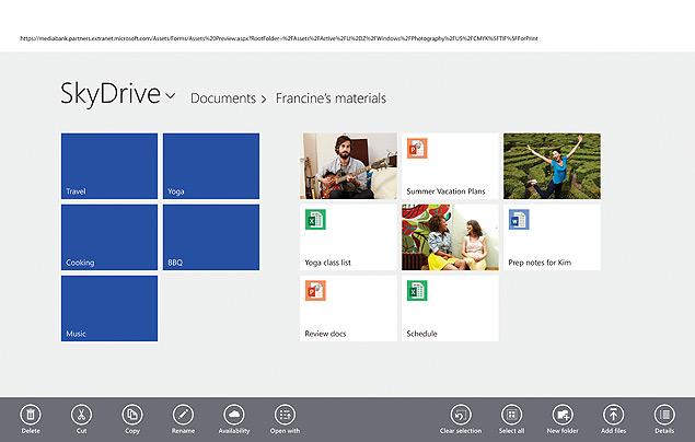 SkyDrive está mais profundamente integrado ao sistema operacional, podendo ser selecionado como destino padrão de documentos salvos