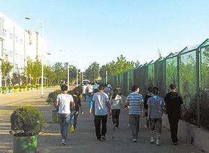 Imagem mostra estudantes caminhando para iniciar um dia de trabalho