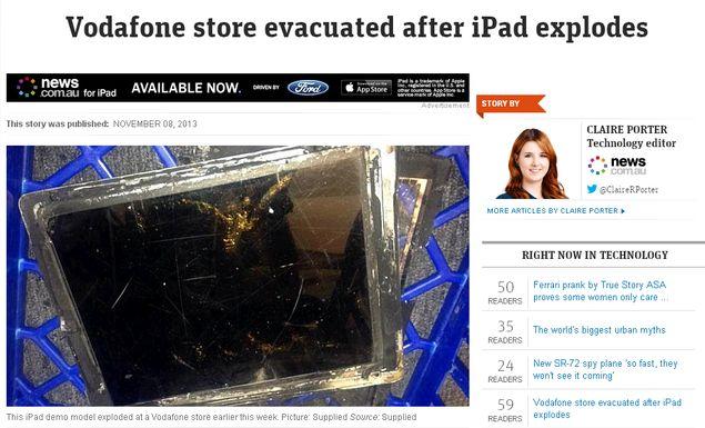 iPad Air destruído após ter explodido em loja da Vodafone na Austrália