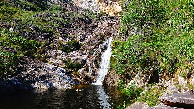 Cachoeira do Gavião, na serra do Cipó, em Minas Gerais