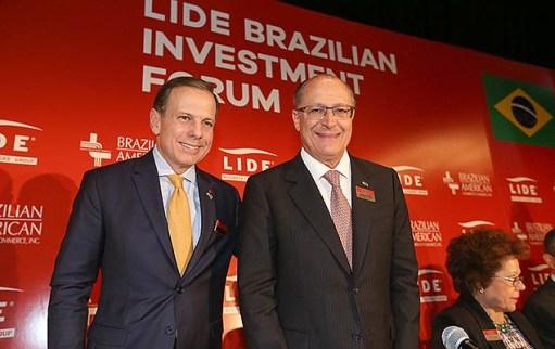 O prefeito João Doria e o governador Geraldo Alckmin no Fórum de Investimentos no Brasil, promovido pelo Lide, em Nova York (EUA)