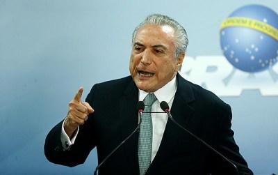 Presidente Michel Temer diz que não irá renunciar à Presidência durante pronunciamento no Palácio do Planalto, em Brasília