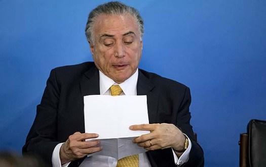 Presidente Michel Temer durante reunião com representantes do setor da indústria e centrais sindicais, no Palácio do Planalto, em Brasília