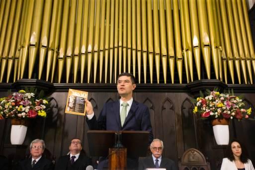 O pastor Valdinei Ferreira no lançamento do Movimento Reforma Brasil, na Primeira Igreja Presbiteriana Independente de São Paulo