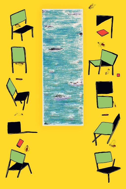 cadeiras em fundo amarelo