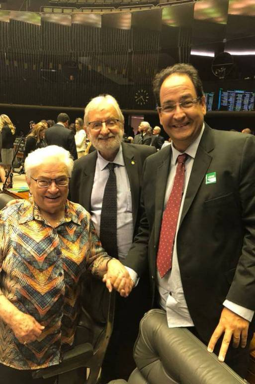 O empresário Carlos Alberto Medeiros com os deputados do PSOL Luiza Erundina e Ivan Valente