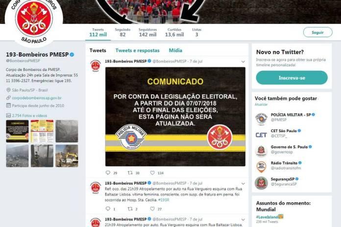 A página oficial dos Bombeiros de SP no Twitter deixou de atualizar ocorrências como incêndios e acidentes desde 7/7, devido à lei eleitoral; a medida, no entanto, é controversa: estados e governo federal interpretem-na de maneira diferente