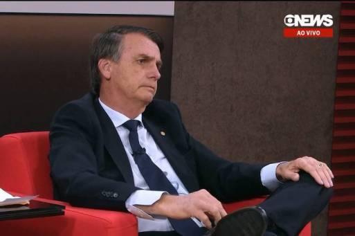 Jair Bolsonaro, pré-candidato à Presidência do PSL, durante entrevista à GloboNews