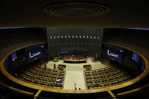 Plenário da câmara com poucos deputados durante uma Comissão Geral, na volta do recesso parlamentar