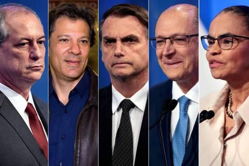 Fotomontagem com os presidenciáveis Ciro Gomes (PDT), Marina Silva (Rede), Geraldo Alckmin (PSDB), Jair Bolsonaro (PSL) e Fernando Haddad (PT)