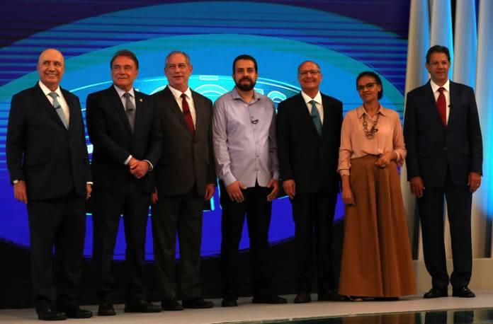 Henrique Meirelles (MDB), Alvaro Dias (Podemos), Ciro Gomes (PDT), Guilherme Boulos (PSOL), Geraldo Alckmin (PSDB), Marina Silva (Rede), Fernando Haddad (PT)