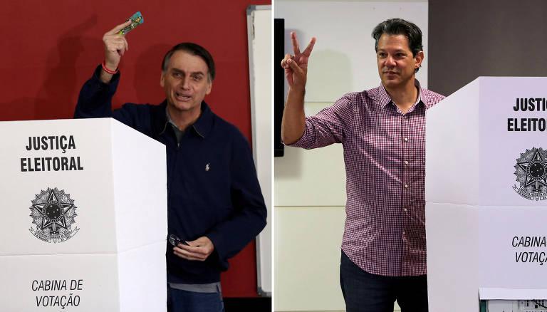 Montagem de fotos que mostra os candidatos Jair Bolsonaro (PSL), que votou no Rio de Janeiro, e Fernando Haddad (PT), que votou em São Paulo
