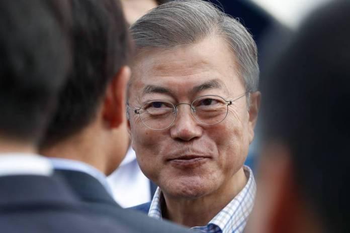 O presidente da  Coreia do Sul, Moon Jae-in, durante visita a Paris