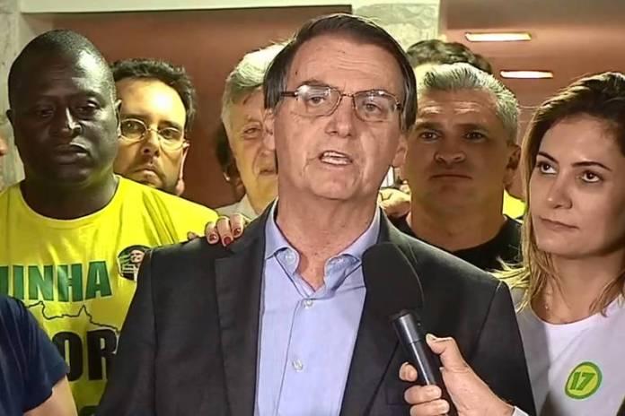 O presidente eleito Jair Bolsonaro faz discurso da vitória após anúncio do resultado das eleições