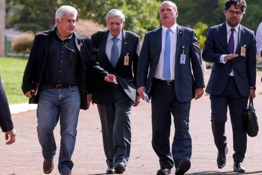 Parte da equipe de transição do governo Bolsonaro, da esquerda para a direita, Marcos Pontes, general Augusto Heleno, Onyx Lorenzoni e o empresário Marcos Aurélio Carvalho