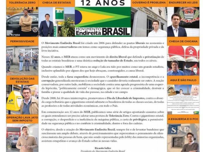 Uma das propagandas do Movimento Endireita Brasil em que aparecem fotos e assinatura de Ricardo Salles, futuro ministro do Meio Ambiente