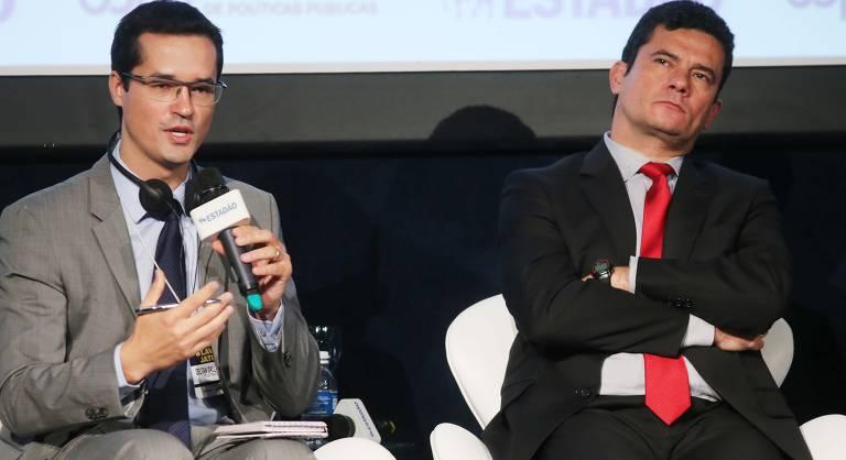 O procurador federal e coordenador da Força-tarefa da Lava Jato em Curitiba, Deltan Dallagnol, e o então juiz Sergio Moro