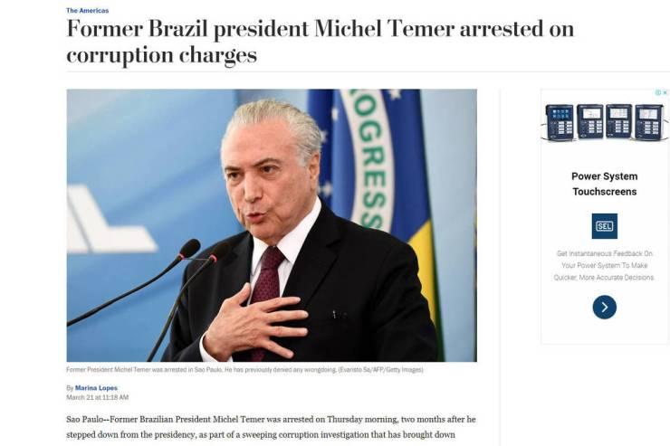 Reprodução do site do jornal americano Washington Post