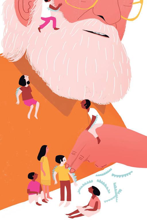 Um busto de Paulo Freire desenhado, cercado de crianças que brincam a seu redor, escalando suas barbas.