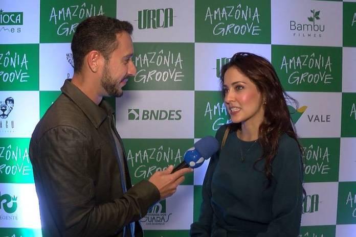 A atriz Maytê Piragibe durante entrevista em que fala de drogas no TV Fama