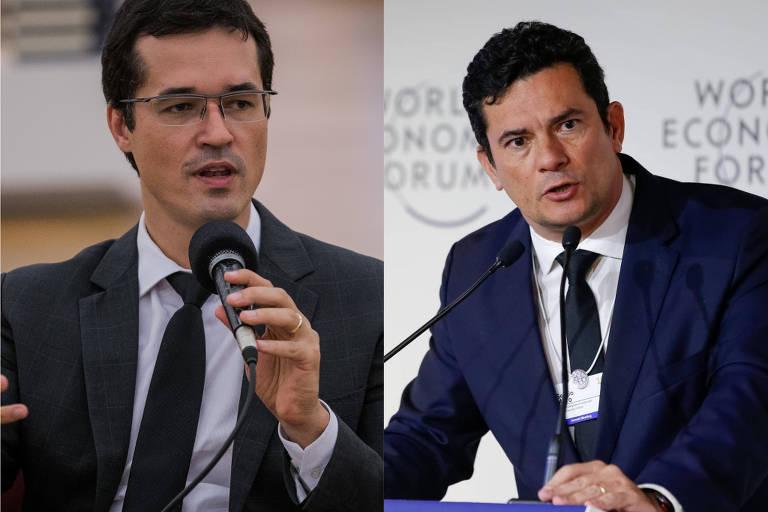O site The Intercept Brasil divulgou diálogos que mostram que Sergio Moro (dir) e Deltan Dallagnol (esq) discutiam processos em andamento e comentavam pedidos feitos à Justiça pelo Ministério Público Federal enquanto integravam a força-tarefa da Lava Jato