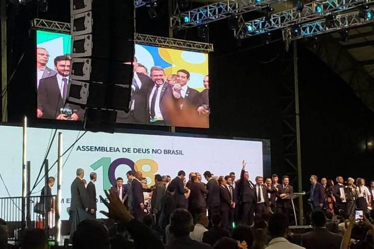 O presidente Jair Bolsonaro em evento da Assembleia de Deus em Belém