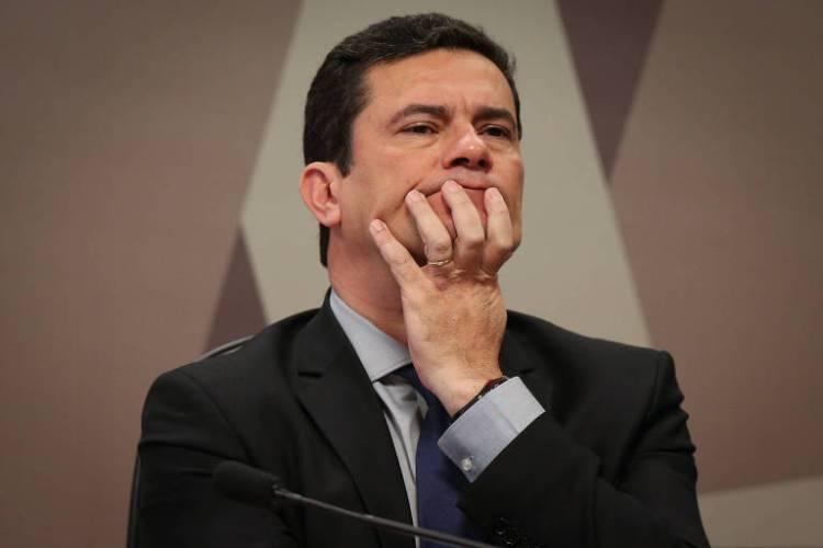O ministro da Justiça, Sergio Moro, durante fala à Comissão de Constituição e Justiça do Senado