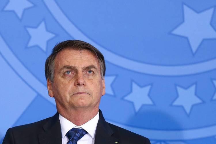 O presidente Jair Bolsonaro durante cerimônia no Palácio do Planalto, em junho deste ano