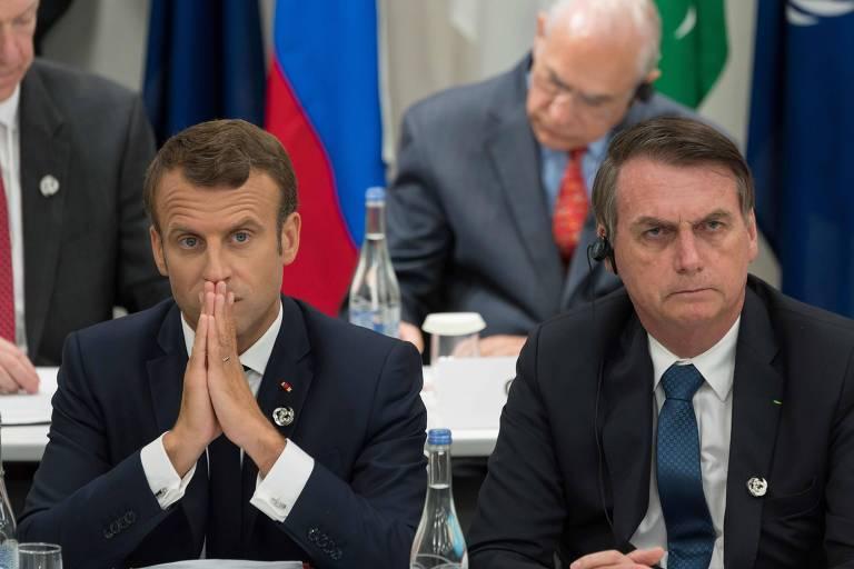 Emmanuel Macron, presidente francês, e Jair Bolsonaro, presidente do Brasil durante encontro do G20