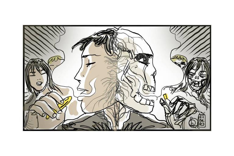 Em um desenho espelahado, do lado esquerdo, jovem usa um vape para fumar, ele está envolto por fumaça. Uma moça olha ao fundo. Do lado direiro, a mesma composição, mas as pessoãs são caveiras.