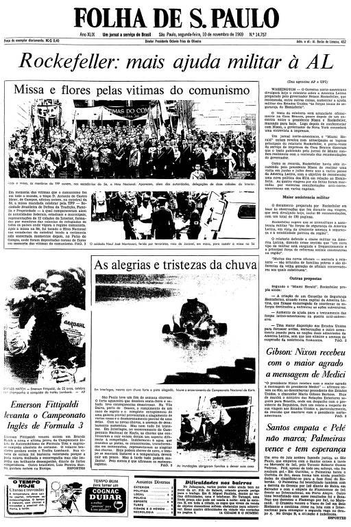 Primeira página da Folha de S.Paulo de 10 de novembro de 1969