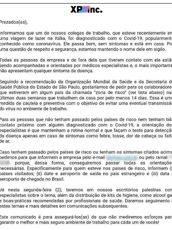 Segundo paciente de coronavírus no Brasil é funcionário da XP - 01 ...