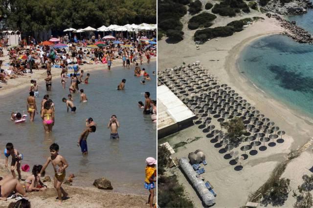 Banhistas lotam praia em Atenas, na Grécia, em 2012 (à esq.); à direita, resort vazio durante o confinamento, também no litoral de Atenas