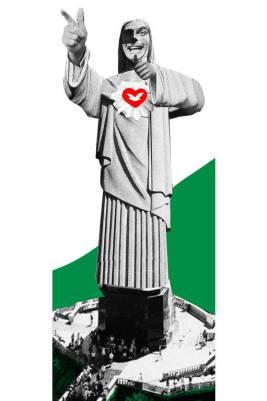 Colagem com uma foto da estátua do Cristo Redentor com o rosto de Jair Bolsonaro e símbolo da Igreja Universal no peito. A estátua está fazendo o gesto de arma com as mãos