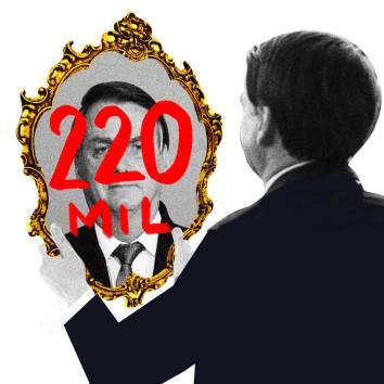 """Ilustração mostra Bolsonaro olhando para um espelho, que reflete seu rosto e, em vermelho, o número """"220 mil"""""""