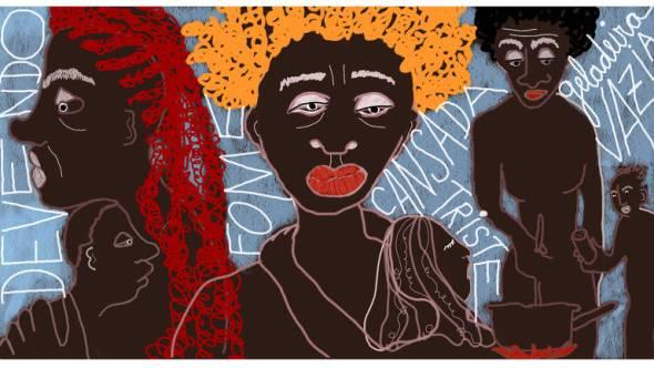 """Na ilustração, ao centro há um desenho de uma mulher preta, com cabelos amarelos e boca vermelha. Do seu lado esquerdo, há duas outras pessoas pretas, uma delas com cabelo vermelho. Do lado direito da figura central há outras três pessoas pretas. Elas estão em volta de uma panela. Uma delas segura uma faca e a outra um objeto. O fundo é azul e tem as seguintes palavras escritas: """"devendo"""", """"fome"""", """"cansada"""", """"triste"""", """"geladeira vazia""""."""