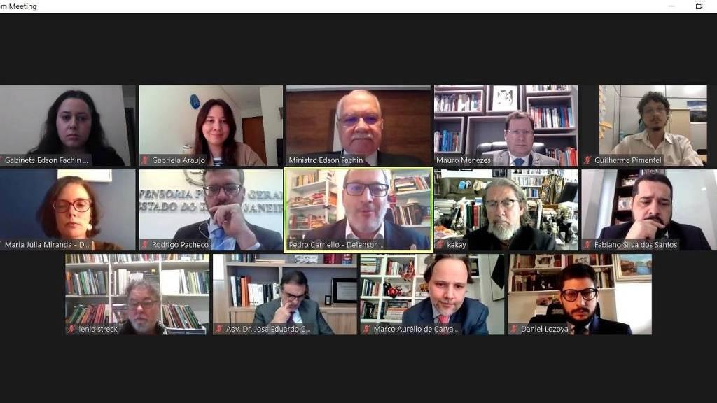 Fachin em reunião virtual com o grupo Prerrogativas, que já fez encontro virtual com 10 ministros do STF