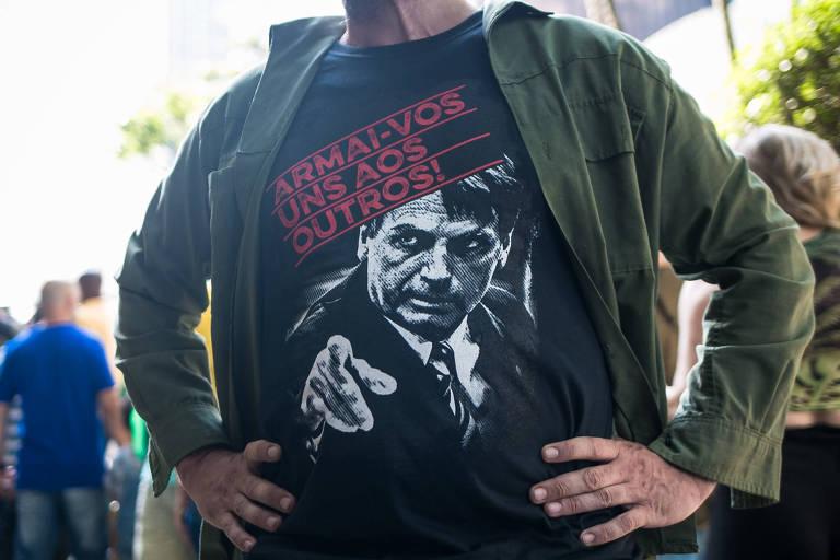 Camisetas imprimem 'estética opressora' em protesto pró-Bolsonaro no 7 de Setembro de 2021 em SP