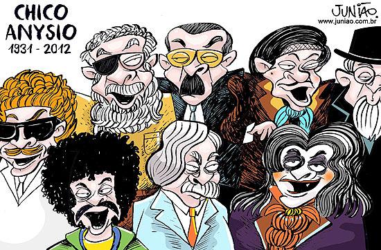 Caricatura de vários personagens feita por Junião