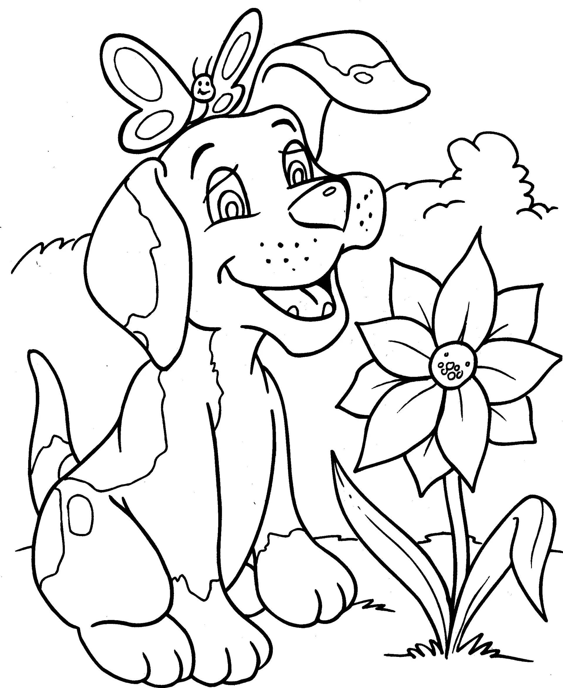 Kleurplaten Huisdieren.Leuke Huisdieren Schattige Hond En Paarse Bloemen Mooie Leuke