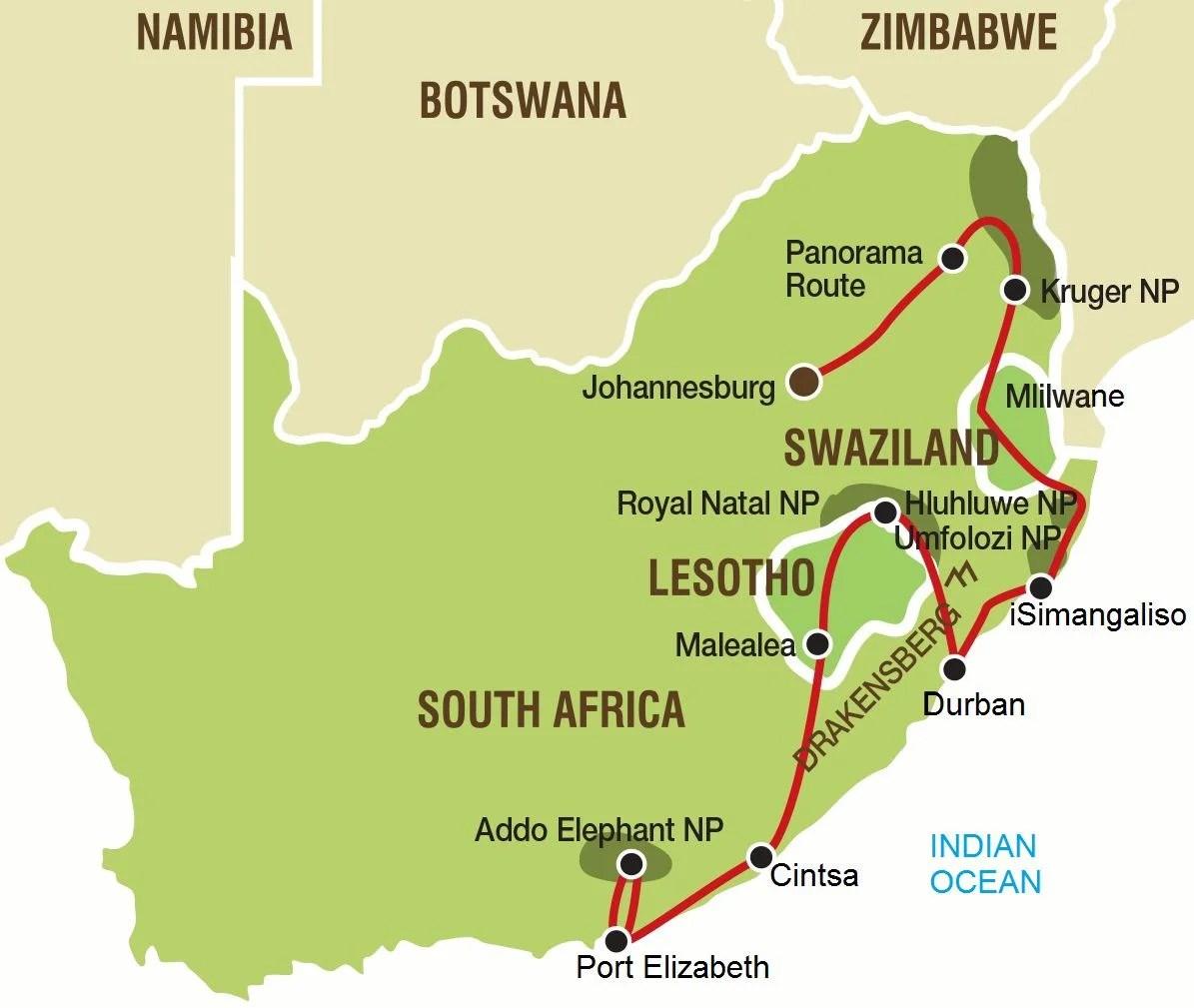Kruger Park Swaziland and Lesotho Tour