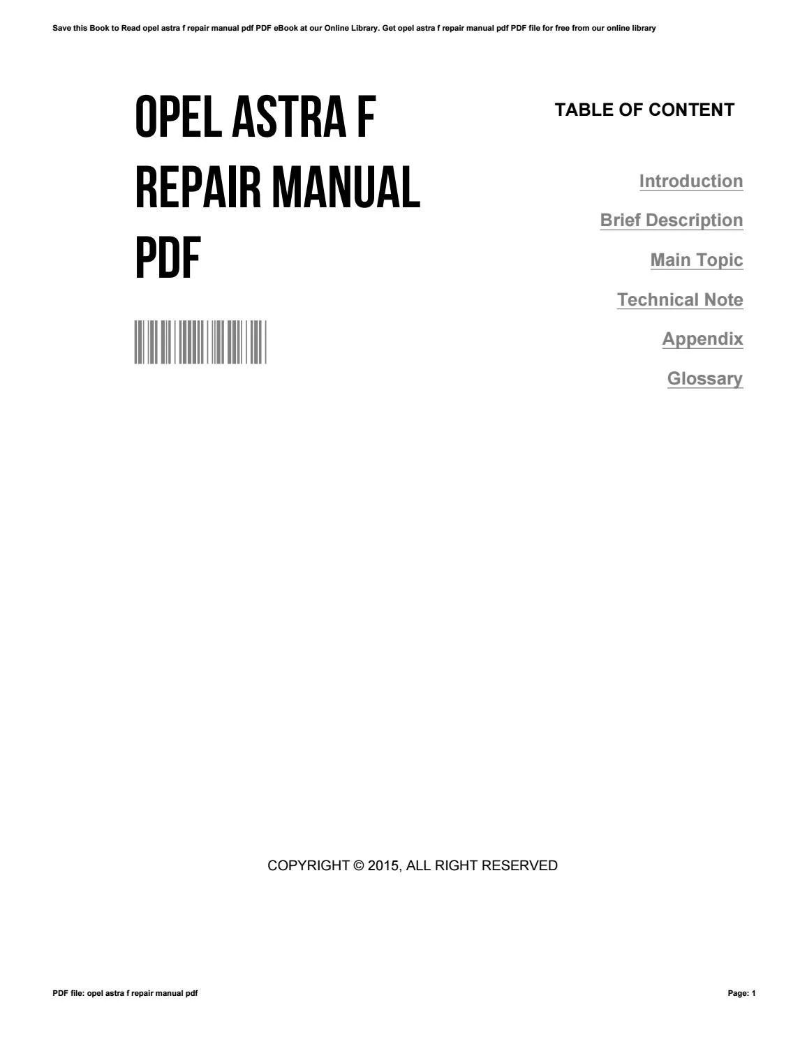 OPEL ASTRA F 1991-1998 Service- en reparatiehandleiding