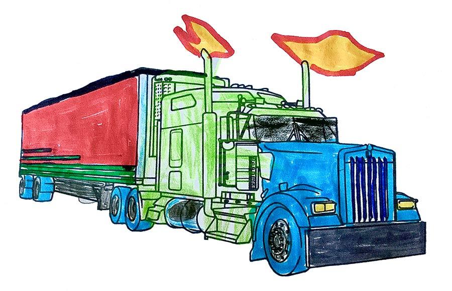 LKW Malvorlage kostenlos » LKWs Ausmalbilder