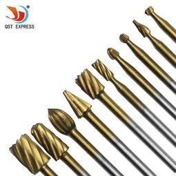 電磨配件 10件套木工高速鋼旋轉銼 鍍鈦木工銑刀 木頭雕刻 刻花刀 - 露天拍賣