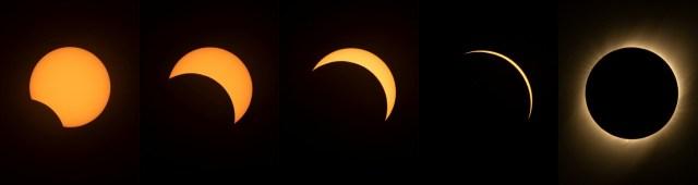 Esas fotografías muestran las etapas del ocultamiento del Sol durante el eclipse solar total visto desde el Observatorio Sur Europeo de La Silla, en Coquimbo (Chile).
