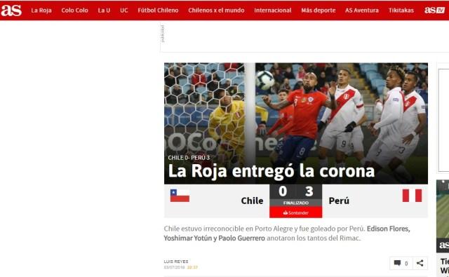 EL diario AS (Chile) sostuvo que la selección de Reinaldo RUeda estuvo irreconocible y perdió la chance de la final.